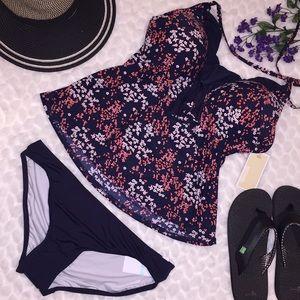 Michael Kors Floral Ruffle Neck Tankini Swim Suit